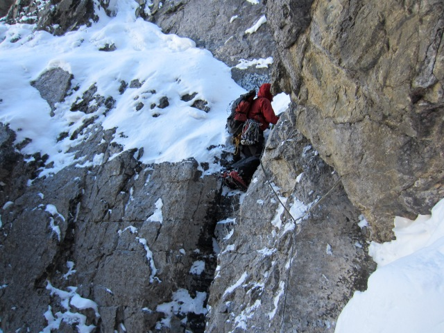Ian Welsted climbing the Slawinski-Takeda on a sub-peak of Mt. Athabasca.
