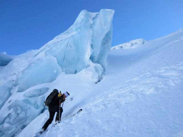 Regan skiing up the right-hand side of the Matier Icefall.