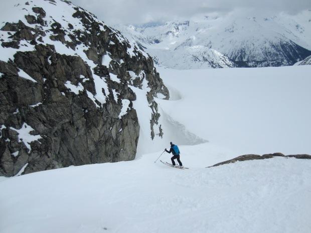 Karina skiing down on the Naden Glacier.