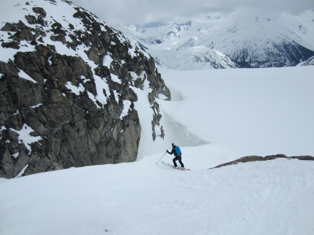 Karina skiing down on the Naden Glacier.