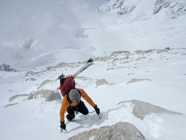 Climbing on the Upper West Rib of Denali with skis. Photo: Colin Haley.