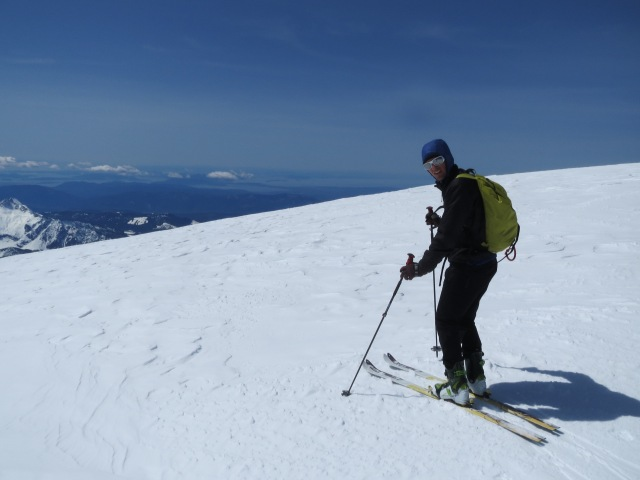 About to drop down the Coleman-Deming on Mt. Baker.