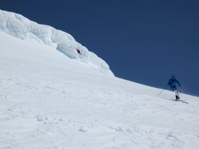 Eric skiing off the summit of Mt. Baker.
