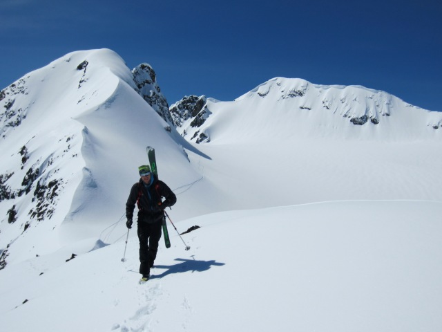 Stano headed for Million Dollar Couloir on Cayoosh.