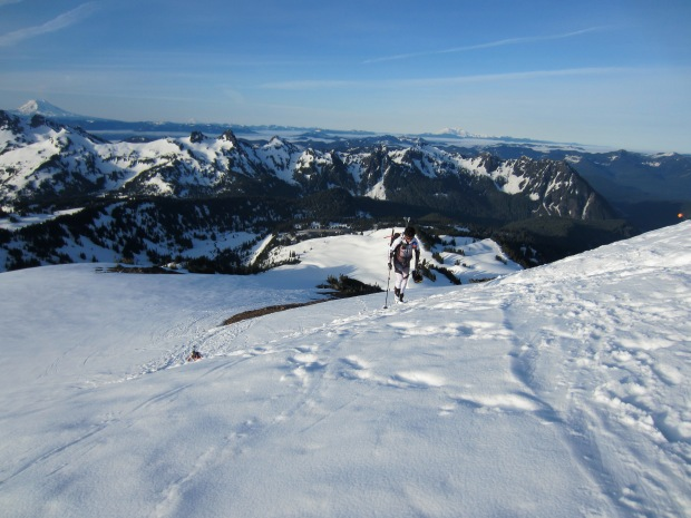 Skiing up the Muir snowfield on Rainier.