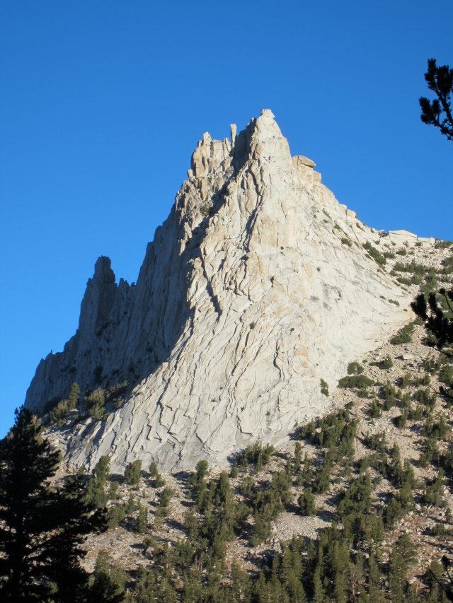 Cathedral Peak with its broad Southeast Buttress in the sun.