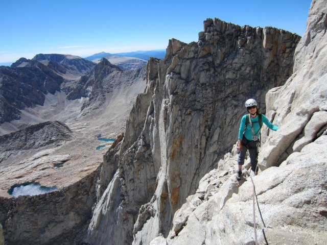 Karina high on the East Face of Mt. Whitney.