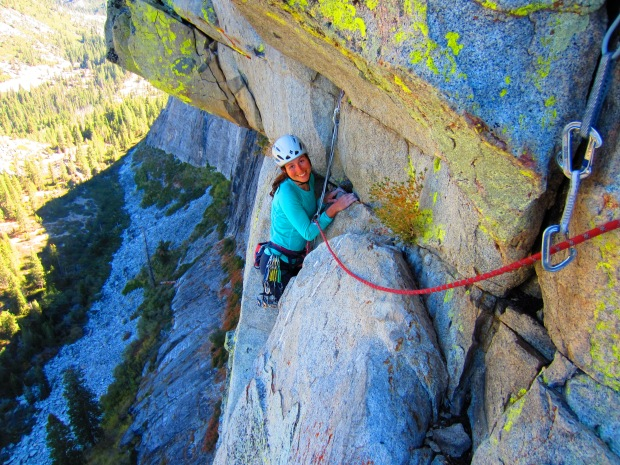 """Karina on Traveler's Buttress. I was experimenting with a mode on my camera called """"super vivid""""."""