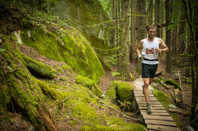 Running along Entrails during the Squamish 50. Photo: Brian Goldstone.