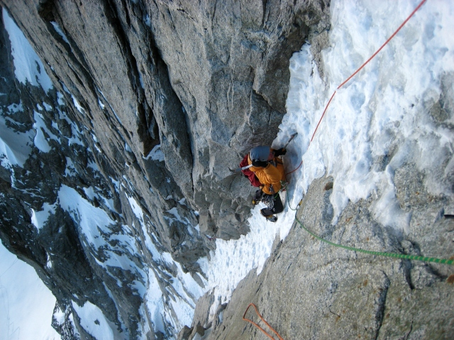 Climbing the Charlet-Ghilini in the Argentiere Basin, Chamonix.
